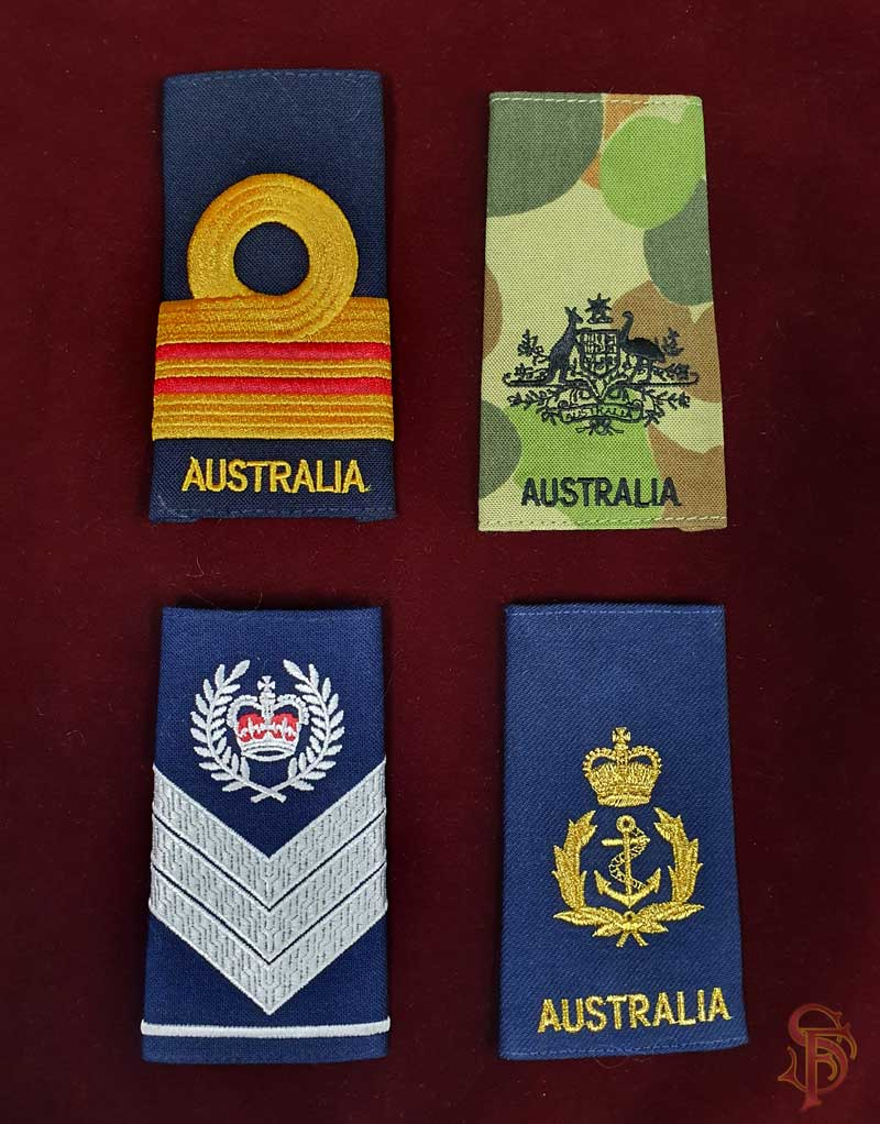 shoulder boards, slip-on insignia and gorgets